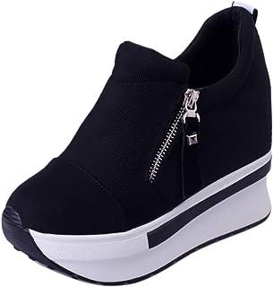 ELEEMEE Women Fashion Flatform Sneaker Zipper High Heel Shoes