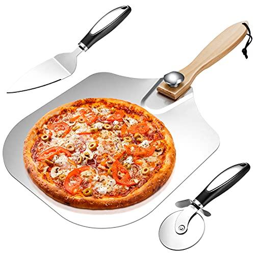 Pala Pizza Set Vintoney 3 Attrezzi per Pizza e da Forno, taglierino, Pala con Manico in Legno