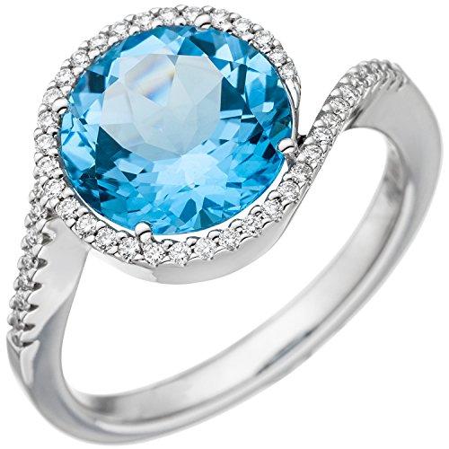JOBO Damen-Ring aus 585 Weißgold mit Blautopas und 47 Diamanten Größe 58