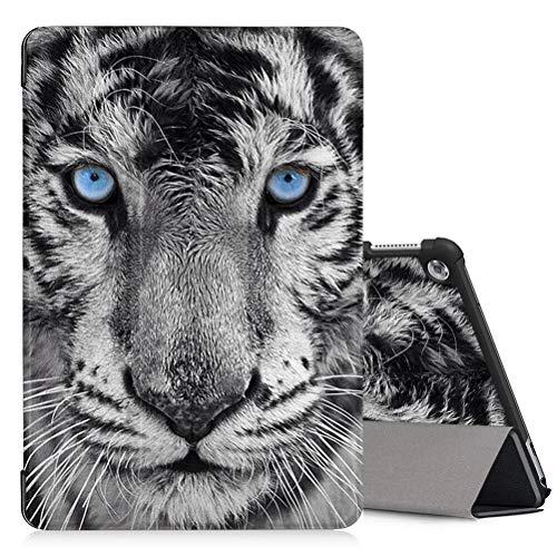 Yoedge Hülle Kompatibel mit Huawei MediaPad M5 Lite 10, PU Leder Tasche Ständer Schutzhülle mit Muster Motive,Schutzhülle Trifold Stand Intelligent Abdeckung Schlafen/Wachen, Tiger
