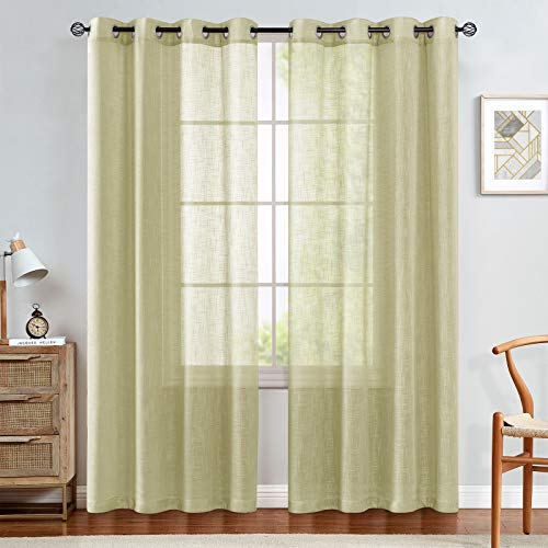 Linen Like Sheer Curtains for Living Room Open Weave Grommet Top Window Treatments for Bedroom Pack of Two 84 Inch Pale Yellow