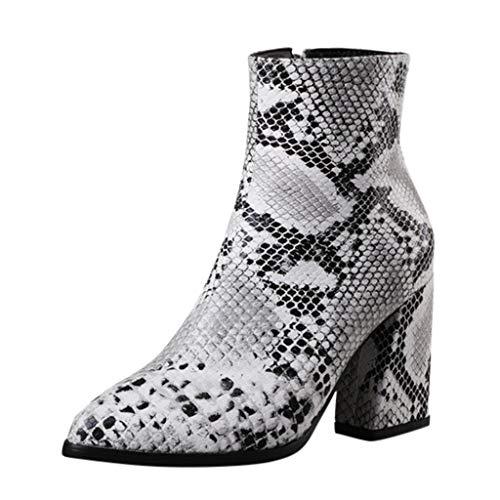 serliyDamen Stiefeletten Stiefel Cowboystiefel Mode Schlangenkorn Spitzschuh Slip-Up Stiefel Square...