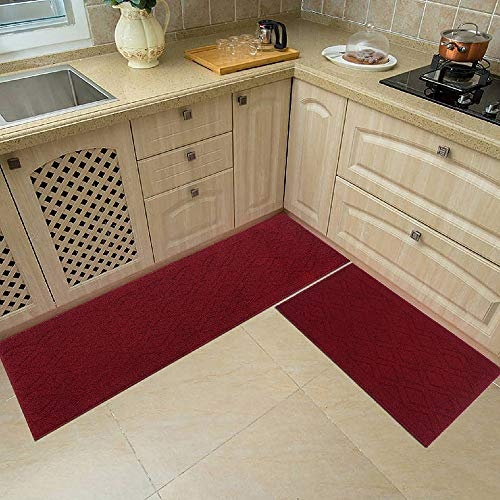 48x20 Inch/30X20 Inch Kitchen Rug Mats Made of 100% Polypropylene 2 Pieces Soft Kitchen Mat Specialized in Anti Slippery and Machine Washable,red Colorado
