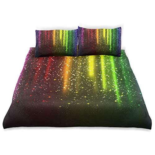 BEVRRY Ambilight Star Kids Bedding Comforter Cover Sets Ultra Soft Crystal Velvet Cotton Satin Hotel Collection–Decorative 3 Piece Bedding Set with 2 Pillow Shams,Multicolor