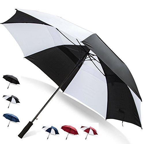 68 Inch Golf Umbrella (Black/White, 1-Pack) Folding Umbrella Umbrella Chair Umbrella for Rain Blunt Umbrella UPF Umbrella Unbreakable Umbrella