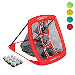 SHORT GAME GURU: sharpen your skills with the ultimate folding golf chipping net! This bundle includes (1) Rukket Pop Up Golf Chipping Net, (12) Rukket Sports Foam Practice Balls and (1) Rukket Carry Bag. USER-FRIENDLY: easy pop-up design with simple...