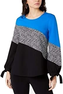 Alfani Colorblocked Tie-Sleeve Top Blue Pebble Text XL