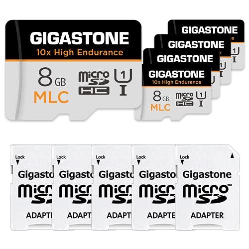 Gigastone MLC 8GB MicroSDXC Speicherkarte 5er-Pack und SD Adapter, 10x High Endurance bis zu 90/40 MB/s ideal für 4K Videoaufnahme, Kompatibel mit Dashcam Überwachungskamera, UHS-I U1 C10 Klasse 10