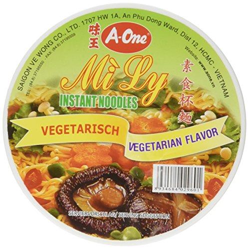 A-One Instant-Cup-Nudeln (vegetarisch, im praktischen Becher, mit Gabel, schnelle Zubereitung - in 3 Min.) 12er Vorteilspackung (12 x 65g)
