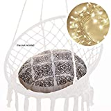 NOOKSTA Macrame Swing Cushion & Fairy Lights Set - Make Hanging Chairs Comfortable with Large Thick Cushion for Indoor Chair Swings or Hanging Chairs for bedrooms (BlackHenna)