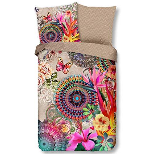 HIP Wende-Bettwäsche MAELLI 6695 Baumwoll Satin farbintensive Ornamente und Mandalas mit Blüten Bettwäsche-Set zum Wohlfühlen 135 cm x 200 cm Sand