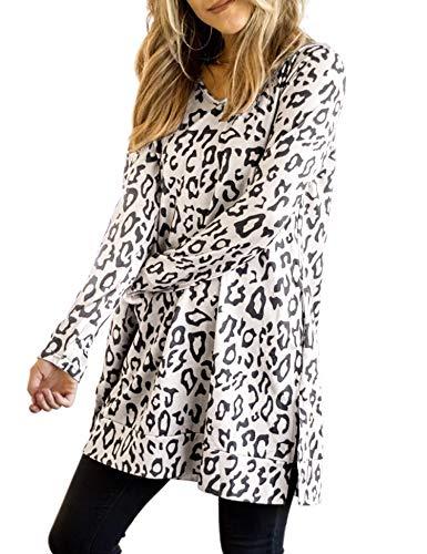 Maysoar Womens Tunic Tops Casual Leopard Print Long Sleeve Crew Neck Sweatshirt Pullover Beige XL
