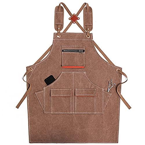 Delantal unisex delantal delantal delantal con bolsillos de herramientas correas cruzadas ajustables para pintura de carpintería (Color : 11)