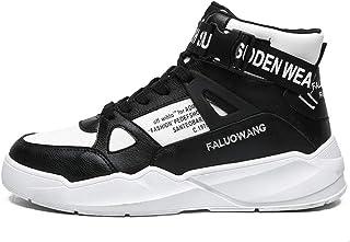 Scarpe da Tennis da Uomo Alte in Pelle Sintetica Antiscivolo con Lacci Scarpe da Basket con Piattaforma Estate Fibbia Autu...