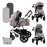 Lorelli cochecito de bebé Lora ruedas de goma plegables bolsa de transporte funda de pie de asiento deportivo, color:beige/marrón