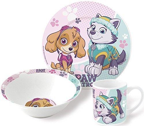 Juego de vajilla de cerámica para niñas, diseño de Patrulla Canina, Incluye Plato y Taza