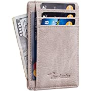 Travelambo Front Pocket Minimalist Leather Slim Wallet RFID Blocking Medium Size (OD Pink Champagne)