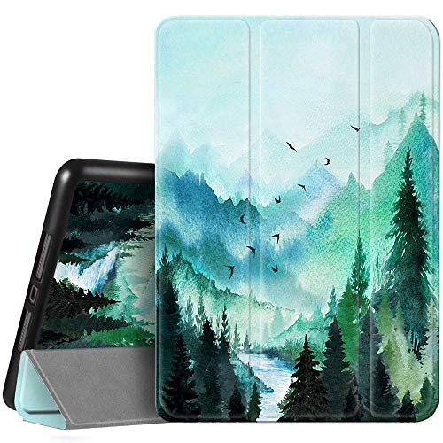 Hi Space iPad 8th / 7th Generation Case iPad 10.2 Case 2020 2019 Landscape Painting with Pencil Holder, Watercolor Scenery Teal Shockproof Cover Auto Sleep Wake for A2270 A2428 A2429 A2197 A2198 A2200