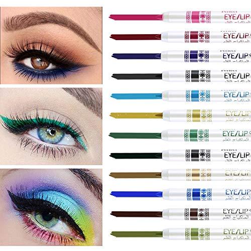 Freeorr 12 Farben bunte Lidschatten Stift, Eyeliner Textmarker Stift, Glitzer wasserdicht...