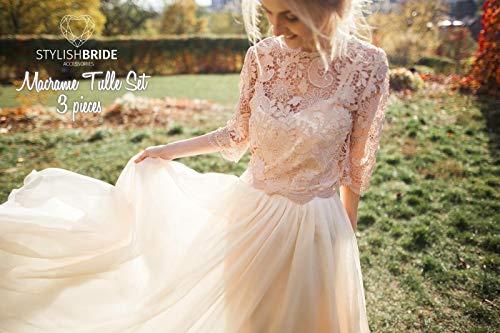 Macrame Nude Dress Tulle Set Lace Crop Top, Sleeves and Tulle skirt long, Nude Lace Crop Top, Bridesmaids Blush Dress