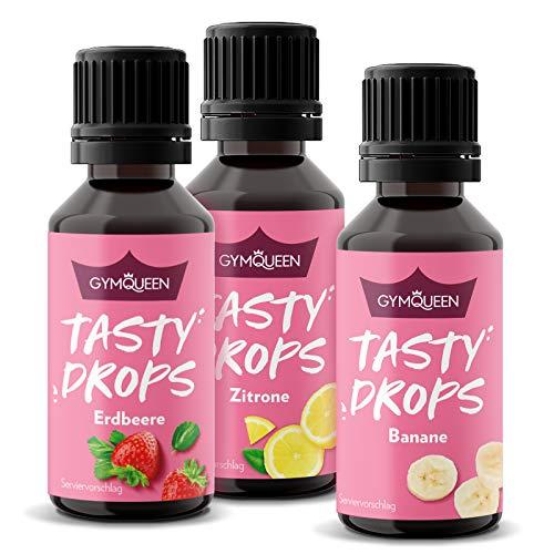 GymQueen Tasty Drops 3x30ml | Kalorienfreie, Zuckerfreie und Fettfreie Flavour Drops | Aroma Tropfen zum Süßen von Lebensmitteln | Geschmackstropfen ohne Künstliche Farbstoffe | Frucht Mix