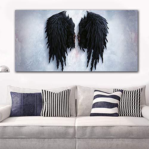 ZXJYH 100% handgeschilderd olieverfschilderij kunstwerk op canvas, modieus pop-art zwart-wit-engelenvleugels muur grote afbeeldingen voor woonkamer 70×105cm(28×42 inch)