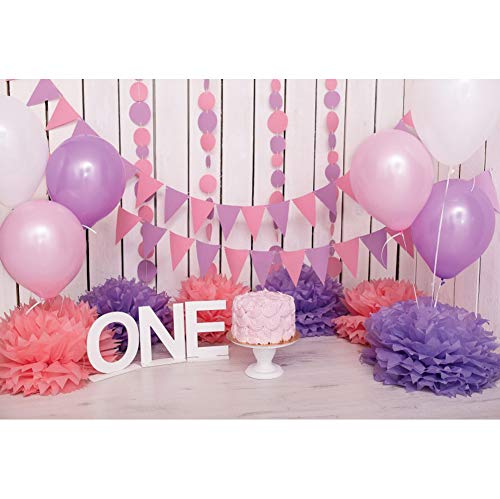 Haoyiyi 5x3ft 1st Birthday Backdrop First One Birthday Decor Pink Lavender Balloons 3D Flower Wood Board Wall Photography Background Baby Girl Cake Smash Supplies Room Decoration Photo Booth Props