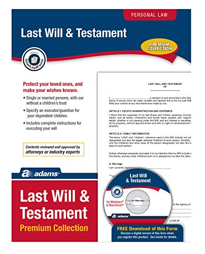 """Adams Last Will & Testament Premium Collection, Forms and Instructions [CD and Downloadable] (LF235), White, 11x""""8.5""""x0.13"""""""