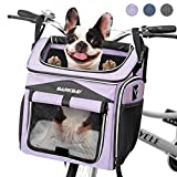 BARKBAY Dog Bike Basket Carrier, Expandable Foldable Soft-Sided Dog Carrier, 2 Open Doors, 5 Reflective Tapes, Pet Travel Bag,Dog Backpack Carrier Safe and Easy for Small Medium Cats and Dogs(Purple)