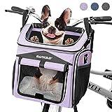 BARKBAY Dog Bike Basket Carrier, Expandable Foldable Soft-Sided Dog Carrier, 2 Open Doors