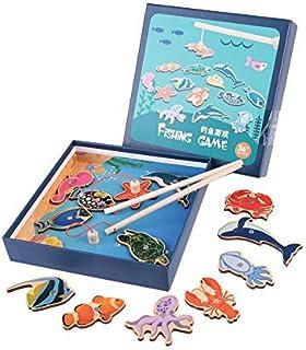 Juguete de pesca magnético de madera, juego de organismos marinos grandes Aprendizaje Educativo Niños pequeños Juguetes pa...