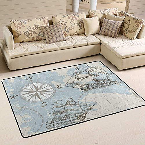 Trista Bauer Seekarte Kompass Segelschiff Bereich Teppich 60 * 39 Zoll Moderne Weiche Teppiche Innenboden Teppich Nicht Verschütten rutschfeste Rechteck Matte