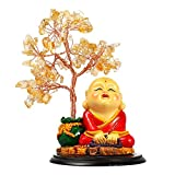 Wealth and Luck Crystal Feng Shui Tree, Money Tree with Cute Little Monk, Natural Amethyst Crystal Quartz Bonsai Healing for Home Office Decoration