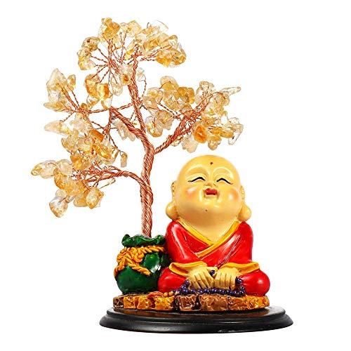 Feng Shui Lucky Tree Natural Crystal Bonsai Style Luck Reiki Feng Shui Figurine Statue Tree for Tabletop Home Office Decoration (Citrine Buddha)