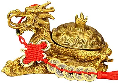 Inicio Estatua de Feng Shui Cenicero de Tortuga dragón de latón Puro Adornos de decoración de Feng Shui Dormitorio Interior Buena Suerte Símbolo de Riqueza