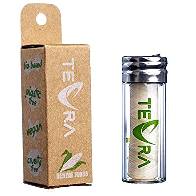 Vegan Dental Floss by TEVRA – Vegan Floss with Refreshing Mint and Ginger Flavor (Starter Pack 30YD / 33M)