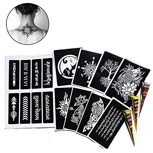 ZYAO Plantilla de Tatuaje Temporal de Henna Paquete de Tatuaje Autoadhesivo con 3 cremas de Tatuaje, 8 Plantillas Grandes de Tres Capas, 1 Plantilla de tamaño de Papel A4