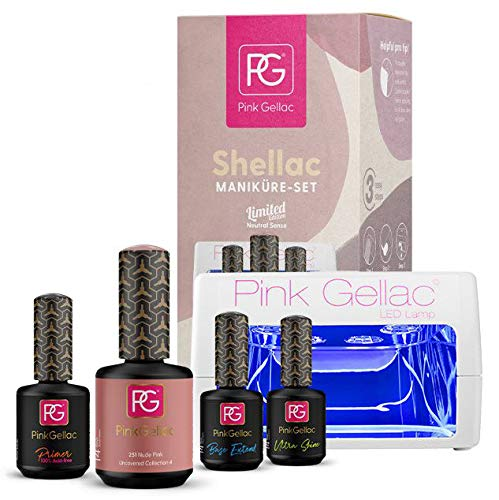 Pink Gellac Starter Set LED M Nagellack Shellac 251 Nude Pink 15 ml + Primer 15 ml + Base Coat Extend 15 ml + Top Coat Ultra Shine 15 ml