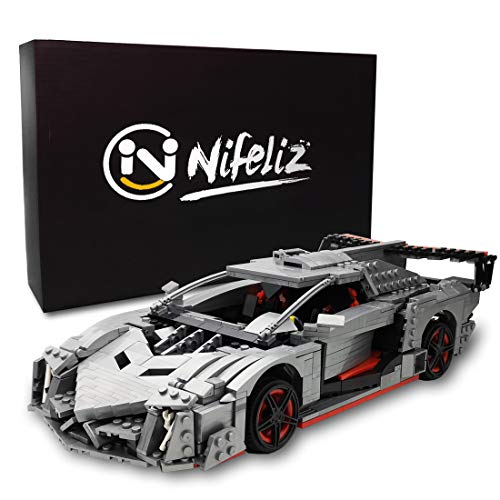 Nifeliz Mini Sports Car Veno MOC Building Blocks and Construction Toy, Adult Collectible Model Cars Set to Build, 1:14 Scale Race Car Model (1170 Pcs)