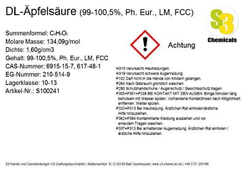 S3 Chemicals DL-Äpfelsäure (min. 99%, reinst) Gebindegröße 5kg