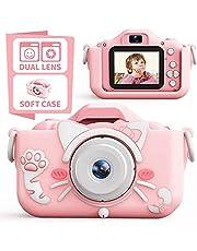 子供カメラ,キッズカメラ トイカメラ 2000万画素 1080P HD 高画質動画カメラ キッズデジカメ USB充電 デュアルレンズ 自撮可能 子どもデジタルカメラ 2.0インチIPS画面 4倍ズーム 子供の日 誕生日プレゼント 日本語説明書付き (ピンク-ネコちゃん)