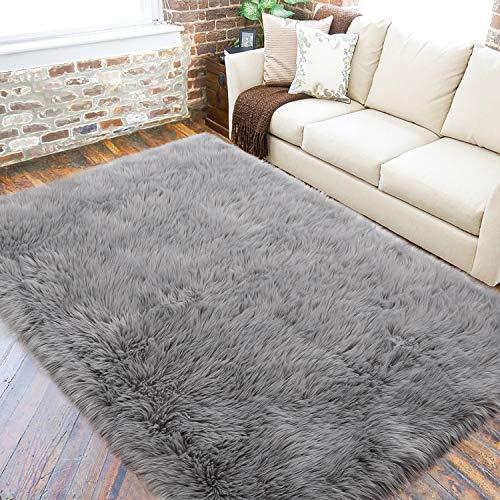LOCHAS Grey Fluffy Faux Fur Rug for Living Room, Super Soft Sheepskin Area Rug...