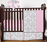 Sweet Jojo Designs Pink, Gray and White Elizabeth Baby Girl Bedding 4pc Crib Set