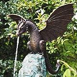 CaCaCook Garden Dragon Statue Fountain, Gartenstatuen Drache Ornamente gotisch Deko Gartenfigur,Gartendeko Geschenk,Dekorationen für den Garten, Terrasse, Vorgarten, Rasen