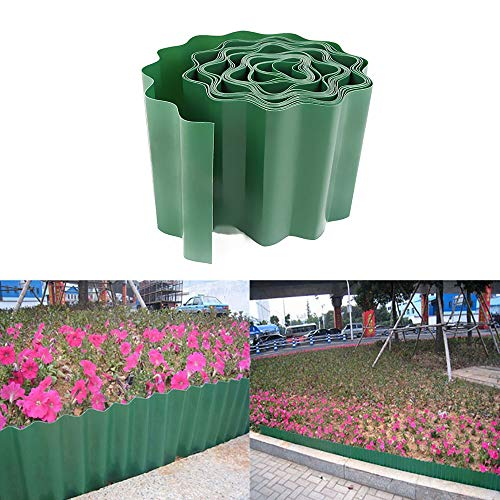 Loremyi Gartenbegrenzungszaun, 900 x 15 cm, flexibler Kunststoff-Rasenkante, wetterfester Zaun für Blumenbeete, Rasen und Wege
