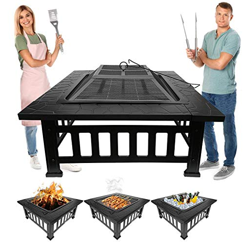 QISHENG TRADE Fire Pit kit, Outdoor 32-inch Metal fire Pit Table, for Patio, Wood Burning fire Pit, Square Fireplace Backyard, Stove with Durable Steel Frame, (Including Screen, lid and Log Poker)