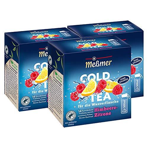 Meßmer Cold Tea Himbeer-Zitrone, 14 Pyramidenbeutel / 3er Pack