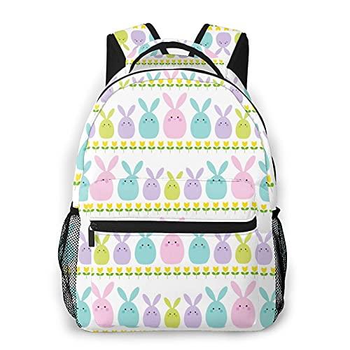 Mochilas escolares para niñas Pascua Tulipán Stripe Casual Bolsa de hombro Librero Ligero Daypack, Conejo de Pascua con rayas de tulipán, Talla única