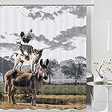 Tier-Duschvorhang, Bauernhaus, Geflügel, Hühner, H&, Katze, Esel, wasserdichtes Stoffgewebe, Badezimmerdekor, Badvorhänge-Set mit 12 Haken