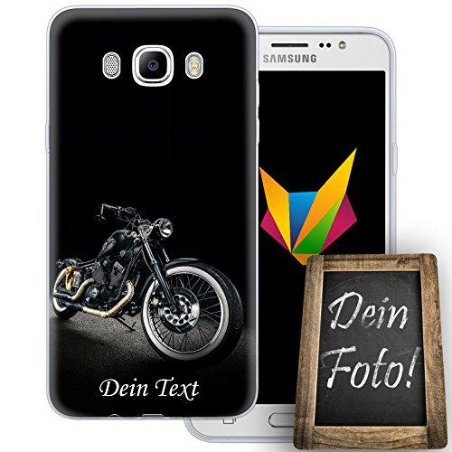 MOBILEFOX - Cover per cellulare in silicone TPU per Samsung Galaxy J7 (2016) con testo